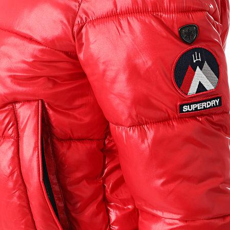 Superdry - Doudoune Capuche Fourrure Femme High Shine Toya W5010317A Rouge
