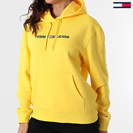 Tommy Jeans - Sweat Capuche Femme Linear Logo 8972 Jaune