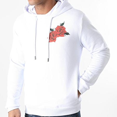 Roses - Sweat Capuche Quadri Blanc
