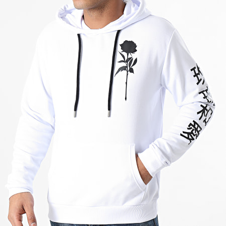 Roses - Sweat Capuche Orient Mono Blanc