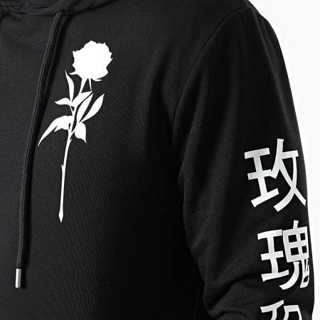 Roses - Sweat Capuche Orient Mono Noir