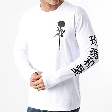Roses - Tee Shirt Manches Longues Oriental Mono Blanc