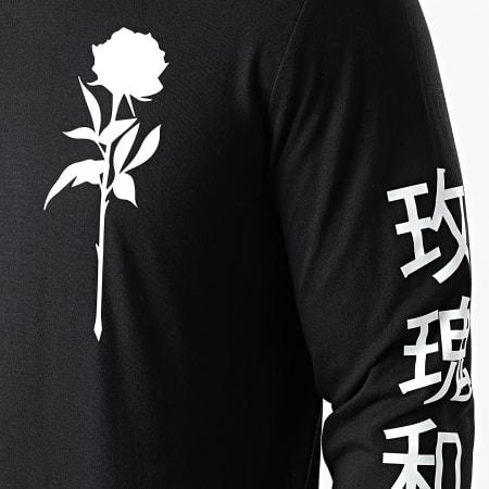 Roses - Tee Shirt Manches Longues Oriental Mono Noir