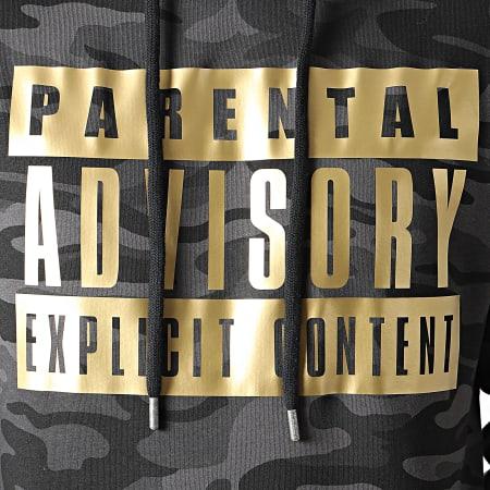 Parental Advisory - Sweat Capuche Gold Logo Camo Noir
