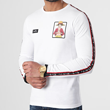 One Piece - Tee Shirt Manches Longues A Bandes Luffy Blanc