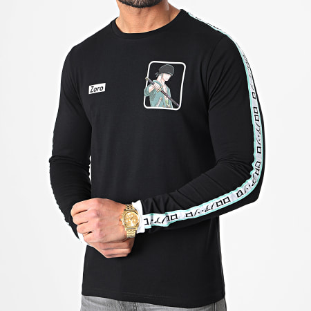 One Piece - Tee Shirt Manches Longues A Bandes Zoro Noir