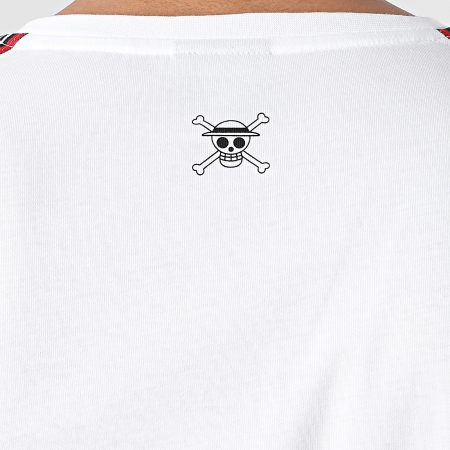 One Piece - Tee Shirt A Bandes Luffy Blanc