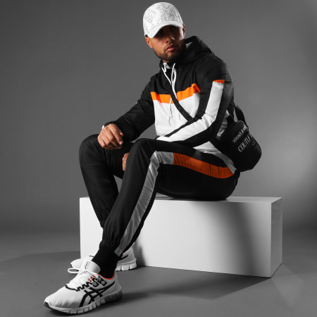 LBO - Ensemble De Survêtement Tricolore A Bandes 0038 Noir Blanc Orange