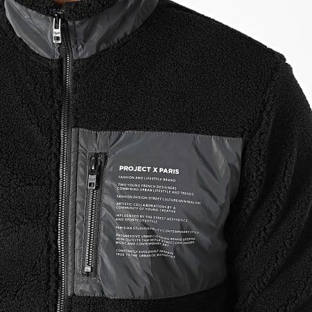 Project X - Veste Zippée Sherpa 2030081 Noir Réfléchissant