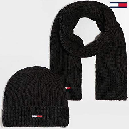 Tommy Jeans - Ensemble Bonnet Et Echarpe Basic Rib 6686 Noir