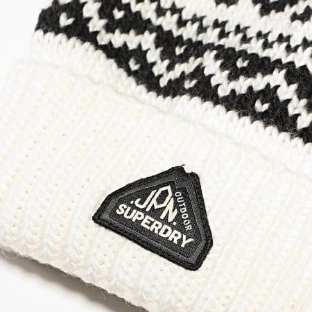 Superdry - Bonnet Fairisle M9010089A Blanc Noir