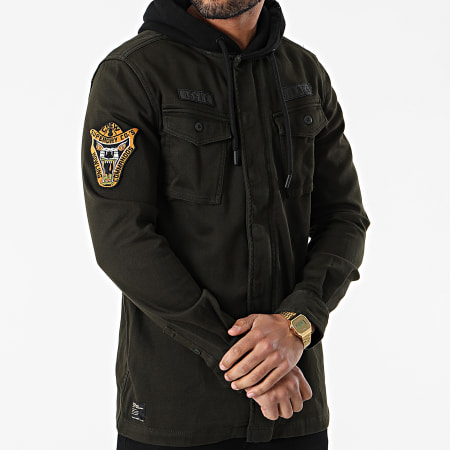 Superdry - Veste Zippée Capuche Core Military Patched M4010061A Vert Kaki