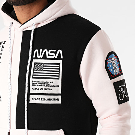 Final Club x NASA - Sweat Capuche Nasa Half Colors Limited Edition Noir Rose Pale