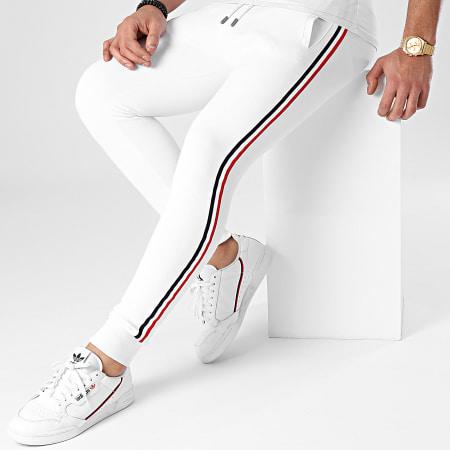 LBO - Pantalon Jogging Avec Bandes Bleu Blanc Rouge 1149 Blanc