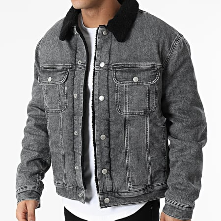 Calvin Klein Jeans - Veste Jean Col Fourrure 7253 Gris