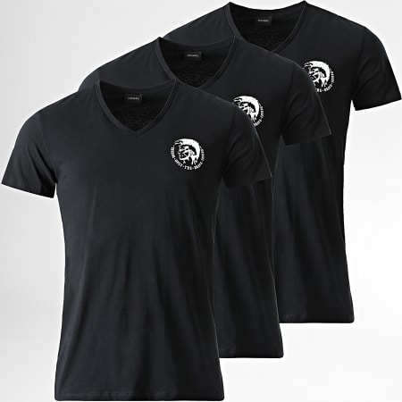 Diesel - Lot De 3 Tee Shirts Col V Michael 00SHGU-0TANL Noir