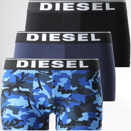 Diesel - Lot De 3 Boxers Damien 00ST3V-0WBAE Noir Bleu Marine Bleu Roi Camouflage