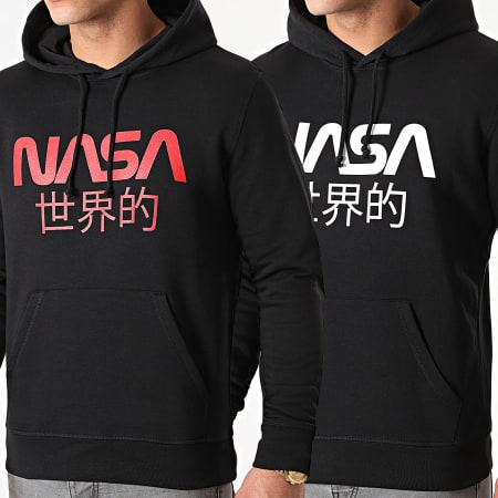 NASA - Lot De 2 Sweats Capuche Japan Logo Noir Blanc Noir Rouge