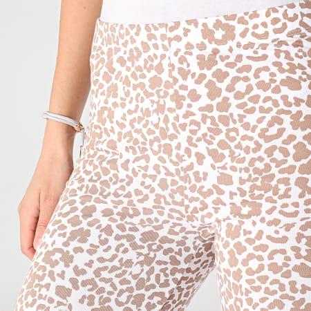 Noisy May - Legging Femme Kerry Anilla Blanc Marron Leopard