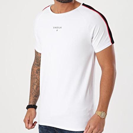 SikSilk - Tee Shirt A Bandes Imperial Raglan Gym SS-18491 Blanc
