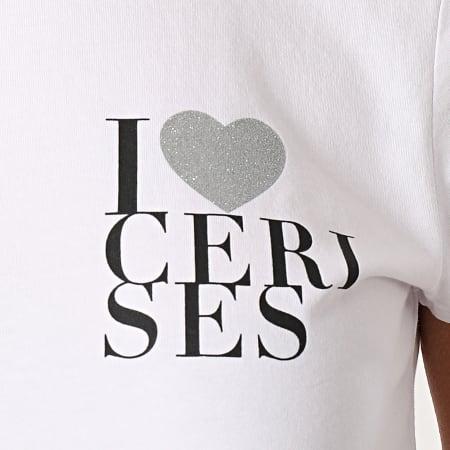 Le Temps Des Cerises - Tee Shirt Femme Tessa Blanc Argenté
