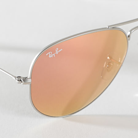 Ray-Ban - Lunettes De Soleil Aviator Flash 3025 Aluminium Rose