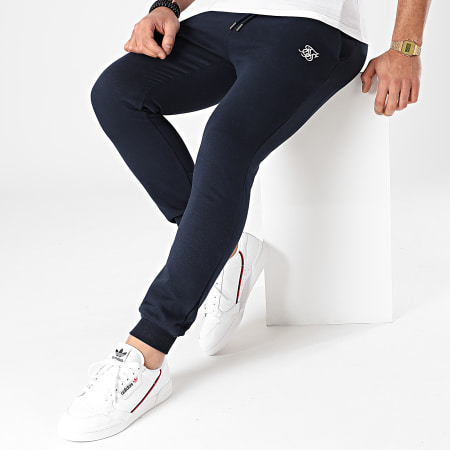 SikSilk - Pantalon Jogging Muscle Fit SS-18900 Bleu Marine
