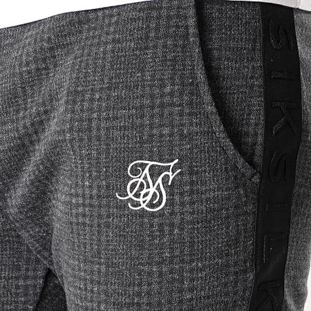 SikSilk - Pantalon Carreaux A Bandes Tonal Check Cuffed SS-17886 Gris Anthracite Chiné