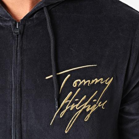 Tommy Hilfiger - Sweat Zippé Capuche Velours 1932 Bleu Marine Doré