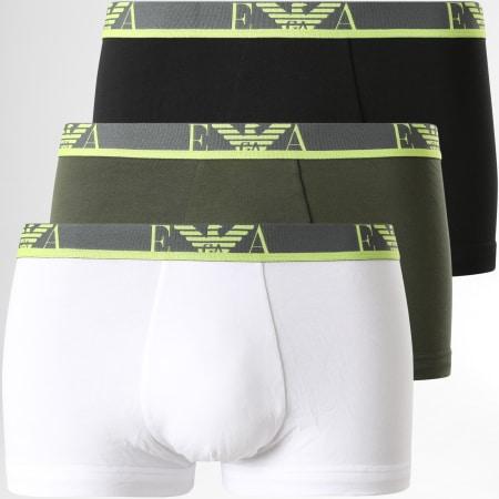 Emporio Armani - Lot De 3 Boxers 111357-1P715 Vert Kaki Blanc Noir