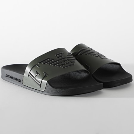 Emporio Armani - Claquettes X4PS06-XM760 Vert Kaki Noir