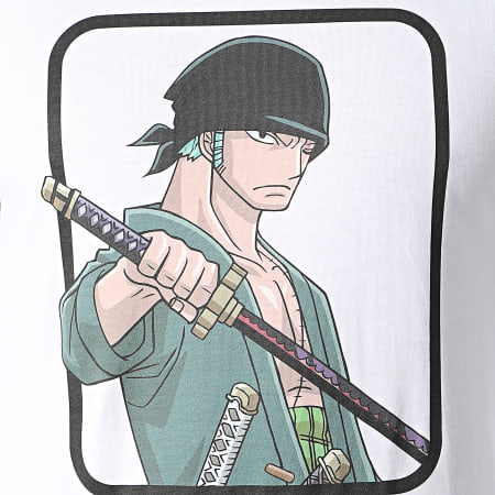 One Piece - Tee Shirt Manches Longues Selfie Zoro Front Blanc