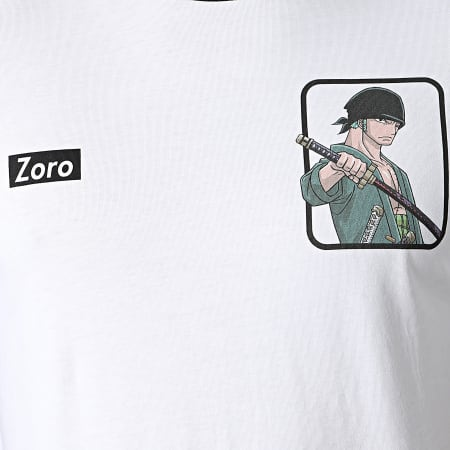 One Piece - Tee Shirt Manches Longues A Bandes Zoro Blanc
