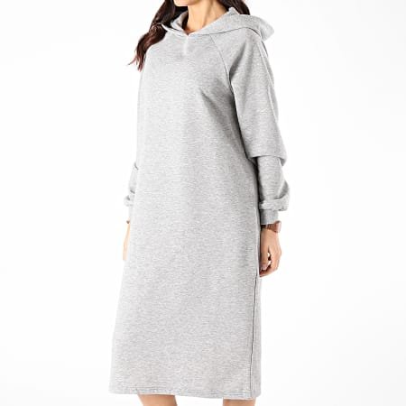Noiy May - Robe Sweat Capuche Femme Helene Gris Chiné