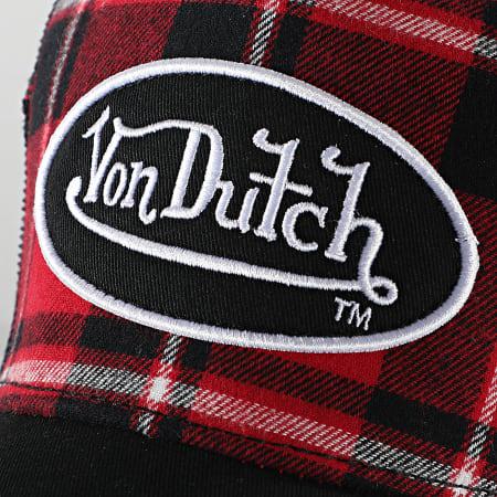 Von Dutch - Casquette Trucker Carreaux Noir Rouge