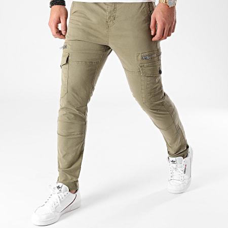 Deeluxe - Pantalon Cargo Slim Danakil Vert Kaki