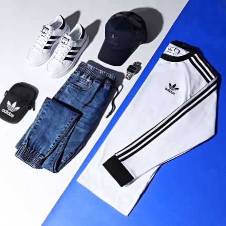 adidas - Tee Shirt Manches Longues A Bandes 3 Stripes GN3477 Blanc