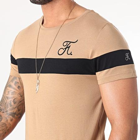 Final Club - Tee Shirt Bicolore Avec Broderie 441 Noir Camel