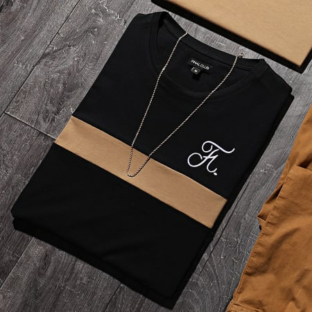 Final Club - Tee Shirt Bicolore Avec Broderie 442 Camel Noir