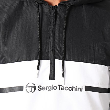 Sergio Tacchini - Sweat Col Zippé Capuche Anice 39221 Blanc Noir