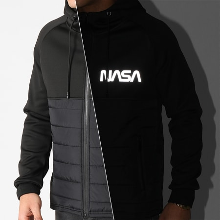 NASA - Sweat Zippé Capuche Skid Réfléchissant Noir