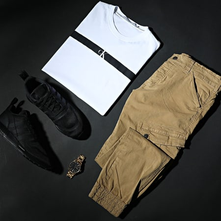 Calvin Klein Jeans - Tee Shirt Horizontal CK Panel 7165 Blanc