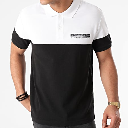 Calvin Klein Jeans - Polo Manches Courtes Micro Mirrored Logo 7284 Noir Blanc