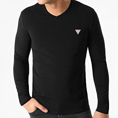 Guess - Tee Shirt Manches Longues Col V M1RI08-J1311 Noir