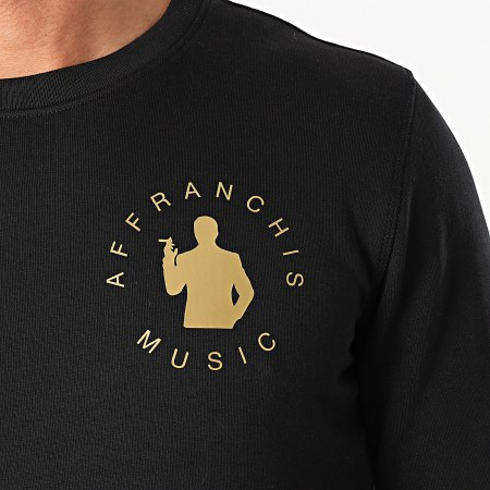 Affranchis Music - Sweat Crewneck Silhouette Back Noir Doré