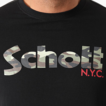 Schott NYC - Tee Shirt Camouflage TSLOGO Noir