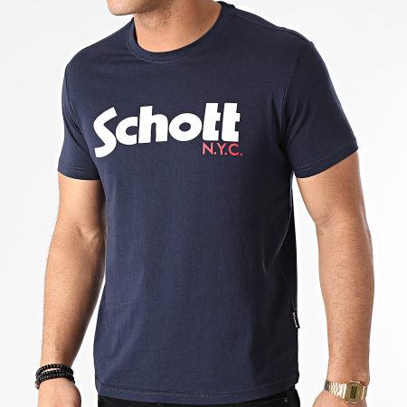 Schott NYC - Tee Shirt TSLOGO Bleu Marine