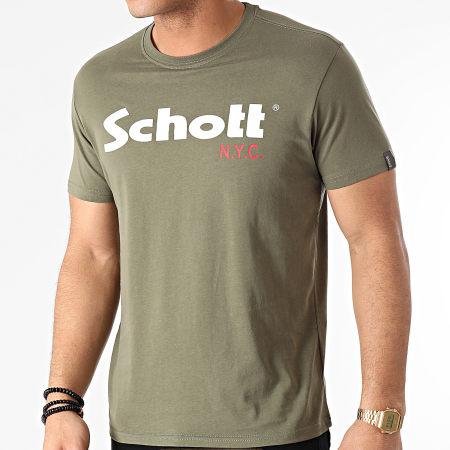 Schott NYC - Lot De 2 Tee Shirts TS01MCLOGO Vert Kaki Bordeaux