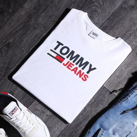 Tommy Jeans - Tee Shirt Corp Logo 0214 Blanc