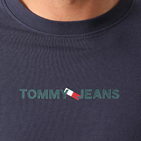 Tommy Jeans - Tee Shirt Manches Longues Vertical Tommy Logo 0241 Bleu Marine